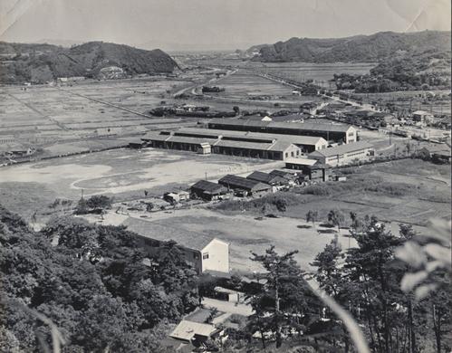 1955年(昭和30年)校地、校舎全景   正面は久里浜方面右手佐原