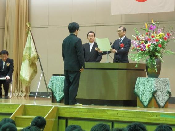 授与の様子 平成26年3月3日 卒業式にて
